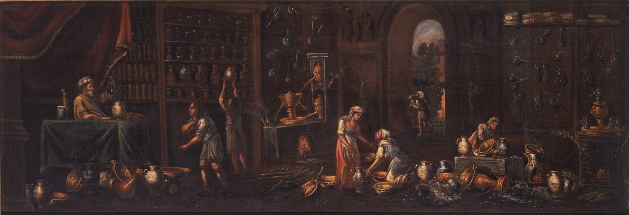 An early Italian Apothecary in 17th Century , Courtesy Fisher Scientific Institute